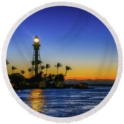 Golden Lighthouse Reflection Round Beach Towel by Tom Claud
