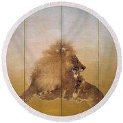 Golden Lion - Original Color Edition Round Beach Towel