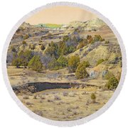 Golden Prairie Realm Reverie Round Beach Towel