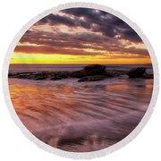 Golden Reflections Round Beach Towel