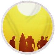 Golden Surf Silhouettes Round Beach Towel