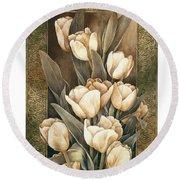 Golden Tulips    Round Beach Towel