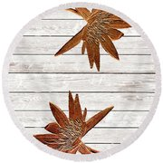 Golden Water Lily Duo Round Beach Towel
