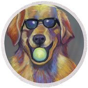 Golden With Ball Round Beach Towel