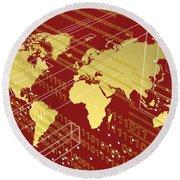 Golden Worlmap Over Tech And Redish Background. Round Beach Towel by Alberto RuiZ