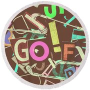 Golfing Print Press Round Beach Towel
