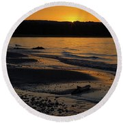 Good Harbor Bay Sunset Round Beach Towel