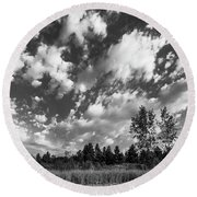 Good Harbor Shoreline Black And White Round Beach Towel