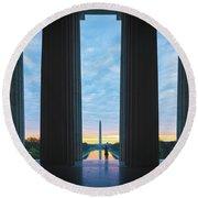 Good Morning Wshington Round Beach Towel by Chris Lord