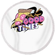 Good Old Times Pizza Fries In The 90s Born In The 90s Love Food Round Beach Towel