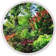 Gorgeous Gardens At Cornell University - Ithaca, New York Round Beach Towel