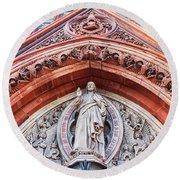Gothic Relief Sculpture On Church Round Beach Towel by Ariadna De Raadt