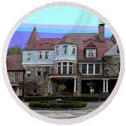 Graceland Mansion  Round Beach Towel