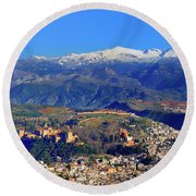 Granada, The Alhambra And Sierra Nevada From The Air Round Beach Towel
