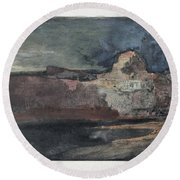 Grand Canyon In Stormy Weather, Arizona - Digital Remastered Edition Round Beach Towel