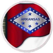 Grand Piano Arkansas Flag Round Beach Towel