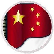 Grand Piano Chinese Flag Round Beach Towel