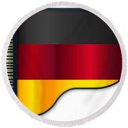 Grand Piano Germany Flag Round Beach Towel