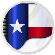 Grand Piano Texas Flag Round Beach Towel