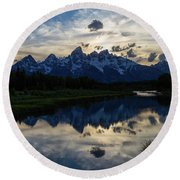 Grand Teton Sunset Round Beach Towel by Michael Chatt