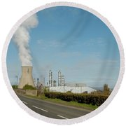 Grangemouth Petro-chemical Plant Round Beach Towel