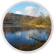 Grasmere In Late Autumn In Lake District National Park Cumbria Round Beach Towel