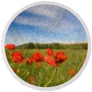 Grassland And Red Poppy Flowers 3 Round Beach Towel