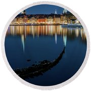 Gray Wolf Shipwreck And Stockholm Gamla Stan Fantastic Reflection In The Baltic Sea  Round Beach Towel