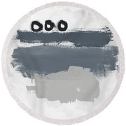 Grayscale 1- Abstract Art By Linda Woods Round Beach Towel
