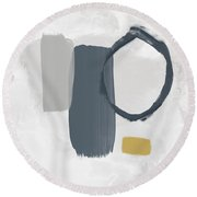 Grayscale 2- Abstract Art By Linda Woods Round Beach Towel