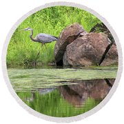 Great Blue Heron And Boulder Round Beach Towel