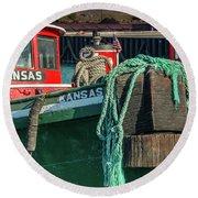 Great Lakes Towing Tug Kansas Round Beach Towel