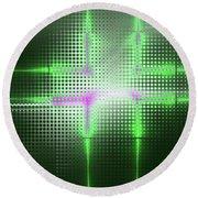 Green Aluminum Sparkling Surface. Metallic Geometric Abstract Fashion Background. Round Beach Towel