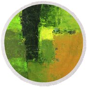 Green Envy Abstract Painting Round Beach Towel