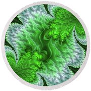 Green Frosty Canyon Round Beach Towel