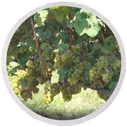 Green Grapes On The Vine 17 Round Beach Towel