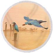 Green Heron Sunrise Round Beach Towel