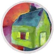 Green House- Art By Linda Woods Round Beach Towel