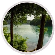 Green Lake, Ny Round Beach Towel