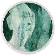 Green Portrait Round Beach Towel
