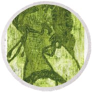 Green Thumb Cheek Girl Round Beach Towel