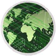 Greenish Worldmap In Tech Future. Round Beach Towel by Alberto RuiZ