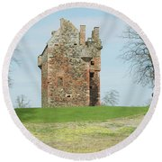 Greenknowe Tower Ruin Round Beach Towel