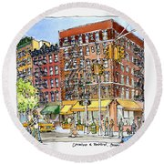 Greenwich Village Laundromat Round Beach Towel