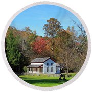 Gregg Cable House In Cades Cove Historic Area Of The Smoky Mountains Round Beach Towel