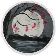 Grey Moon With Red Flowers Round Beach Towel