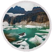 Grinnell Glacial Lake At Glacier National Park Round Beach Towel by Lon Dittrick