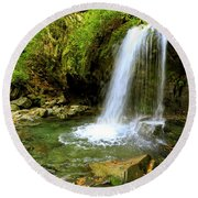 Grotto Falls On Trillium Gap Trail In Smoky Mountains National Park Round Beach Towel
