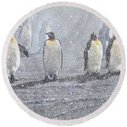 Group Of King Penguins In The Snow Round Beach Towel by Alan M Hunt