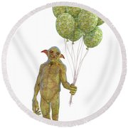 Grumpy Troll Smiling Peace Offering Round Beach Towel